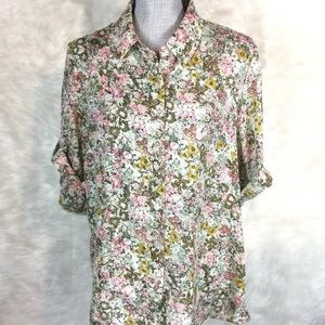 Coldwater Creek Button Down Top Tab Sleeve Floral